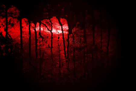 bloody metal wall  in the dark for horror content and halloween festival. 3d illustration. Imagens