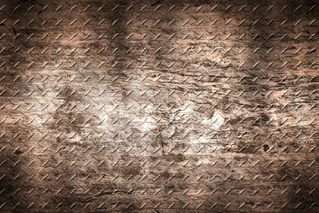brown grunge diamond plate. dirty rust metal background and texture. 3d illustration.