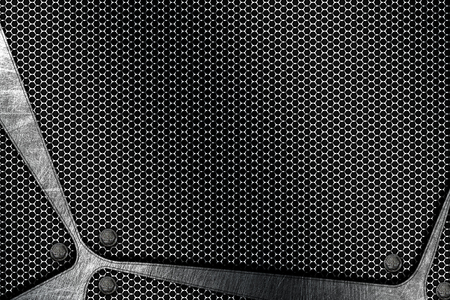 gray chrome metal and carbon fiber mesh. metal background and texture. 3d illustration.