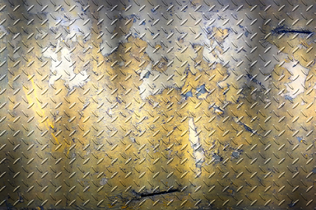yellow grunge diamond plate. dirty rust metal background and texture. 3d illustration.