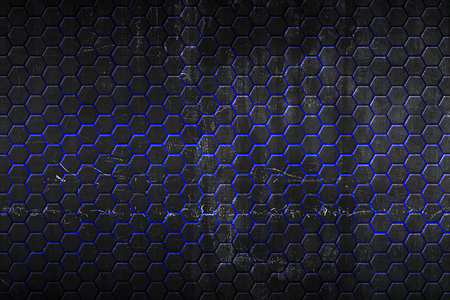 black hexagon and blue light background with real texture. 3d illustration. Imagens