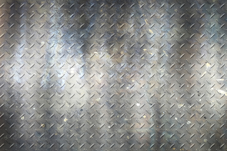 dark gray grunge diamond plate. dirty rust metal background and texture. 3d illustration.