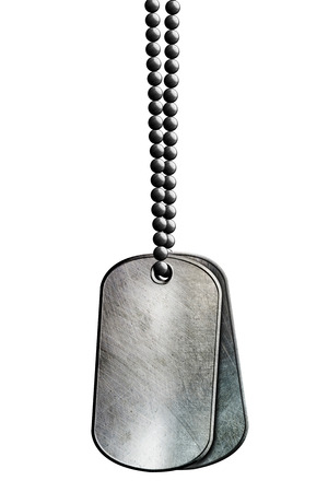 chrome metal tag and necklace. isolated with clipping path. 3d illustration. 免版税图像 - 119360631