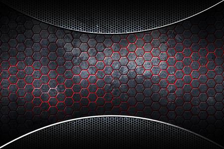 Fibra de carbono cromado hexagonal oscuro. Fondo y textura de metal. Ilustración 3D.