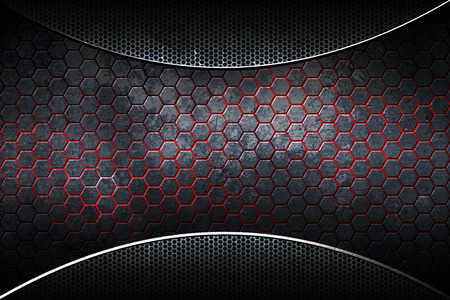 dark hexagon chrome carbon fiber. metal background and texture. 3d illustration. Stock Photo