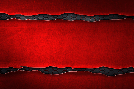 red metal banner on hexagon metal plate. background andtexture. 3d illustration
