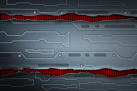 scifi wall. black carbon fiber wall on red mesh. metal background and texture 3d illustration. technology concept.