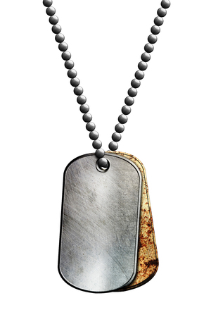 rust and chrome metal tag and necklace. isolated with clipping path. 3d illustration.