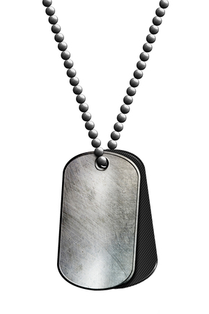black and chrome metal tag and necklace. isolated with clipping path. 3d illustration.