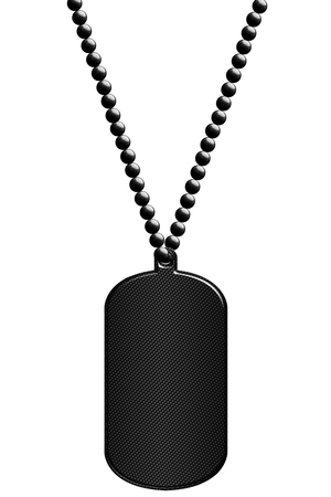 black carbon fiber metal tag and necklace. isolated with clipping path. 3d illustration. Imagens