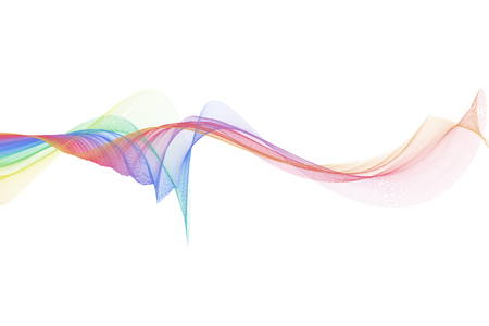 colorful fabric smooth wave on white background