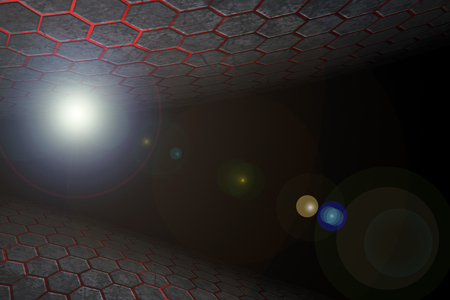 black and red hexagon background and lens flare with real texture. perspective design. 3d illustration.