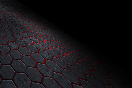 black and red hexagon background with real texture. perspective design. 3d illustration.