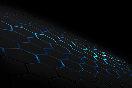 black and blue hexagon background texture. perspective design. 3d illustration.