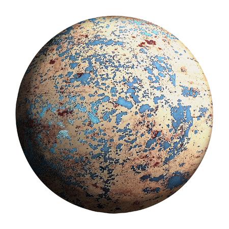 planète grise isolée et ajouter un tracé de détourage. conception d'illustrations 3D.