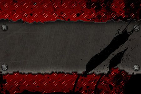 black metal banner on red diamond plate with black color splash. background and texture. 3d illustration