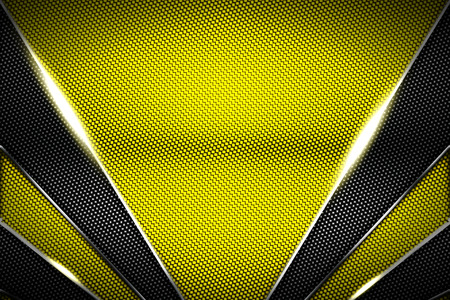 gold and black carbon fiber and chromium frame. metal background. material design. 3d illustration.