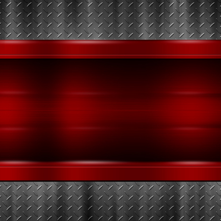 red metal plate on black metal plate for background and texture. 3d illustration.