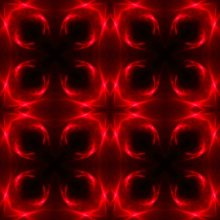 red and black light pattern background and texture. kaleidoscope design. illustration. Stockfoto