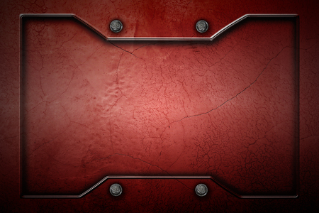 red metal or concrete wall with metal frame for background and texture. 3d illustration.
