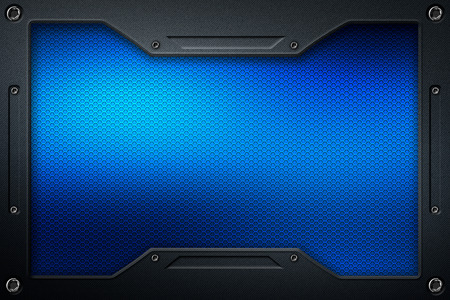 blue carbon fiber and frame for background and texture. 3d illustration.