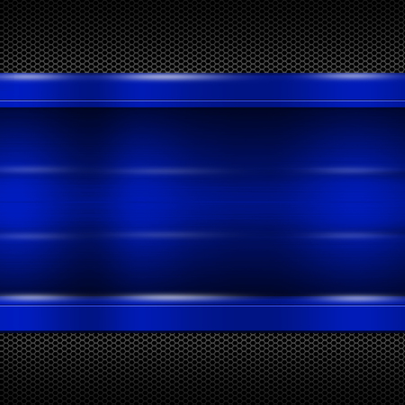 blue metal plate on black metallic mesh for background and texture. 3d illustration.