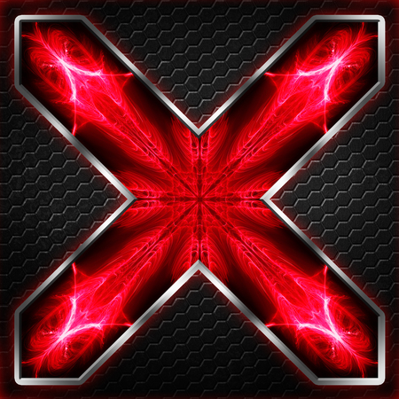 black hexagon x frame on red and white light. background and texture for scifi and game design. 3d illustration.