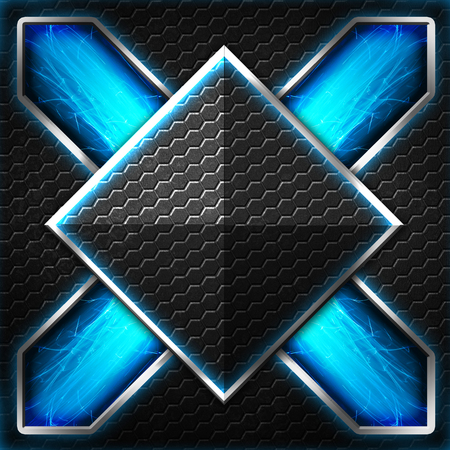 black hexagon x frame on blue and white light. background and texture for scifi and game design. 3d illustration.