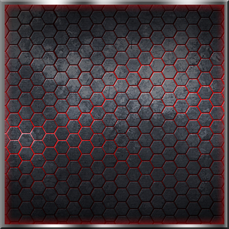 black hexagon background with real texture. red light border. 3d illustration. Imagens