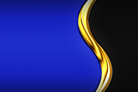 blue and black carbon fiber and gold curve chromium frame. metal background and texture. material design. 3d illustration.