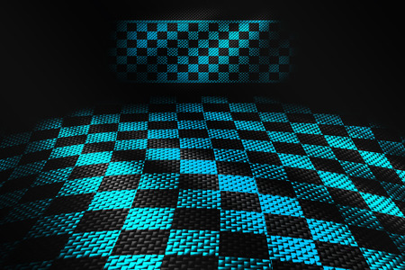 green and black carbon fiber background. checkered pattern. 3d illustration material design. sport racing style.