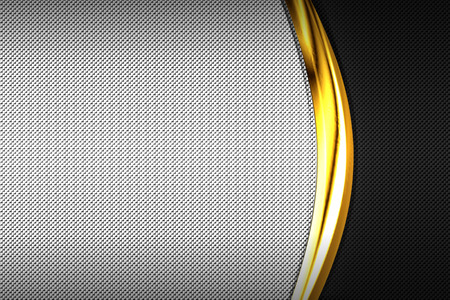 black and white carbon fiber and gold curve chromium frame. metal background and texture. material design. 3d illustration.