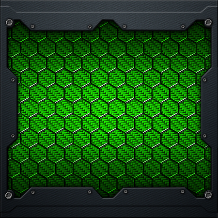 green hexagon carbon fiber in dark gray metal frame. 3d illustration. technology concept. Zdjęcie Seryjne