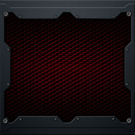 red hexagon carbon fiber in dark gray metal frame. 3d illustration. technology concept.