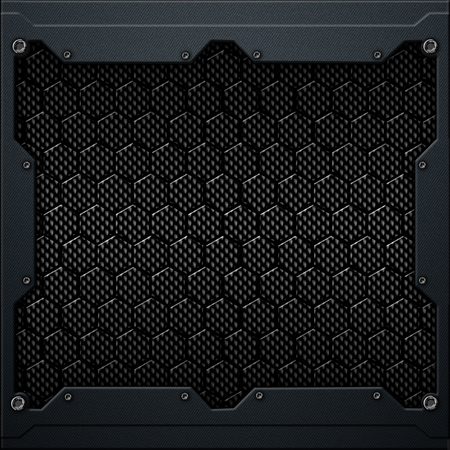 black hexagon carbon fiber in dark gray metal frame. 3d illustration. technology concept.