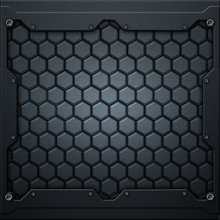 blue hexagon carbon fiber in dark gray metal frame. 3d illustration. technology concept.