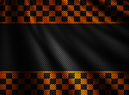 orange and black carbon fiber background. checkered pattern. 3d illustration material design. sport racing style. Zdjęcie Seryjne