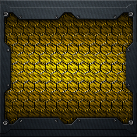 yellow or gold hexagon carbon fiber in dark gray metal frame. 3d illustration. technology concept. Zdjęcie Seryjne