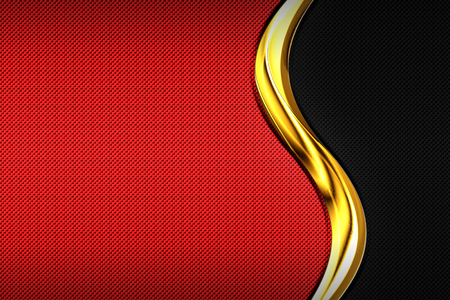 red and black carbon fiber and gold curve chromium frame. metal background and texture. material design. 3d illustration.