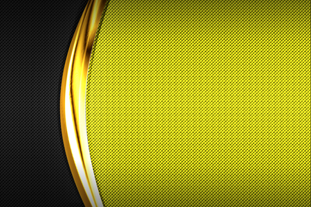 yellow and black carbon fiber and gold curve chromium frame. metal background and texture. material design. 3d illustration.