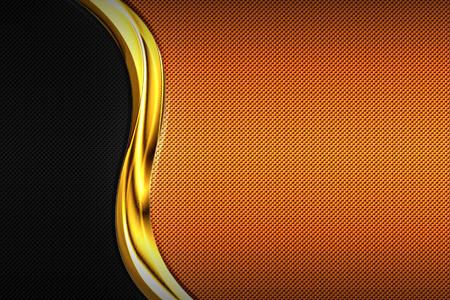 orange and black carbon fiber and gold curve chromium frame. metal background and texture. material design. 3d illustration.