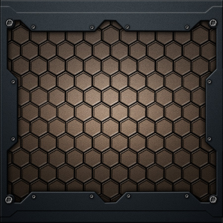 gold hexagon carbon fiber in dark gray metal frame. 3d illustration. technology concept.