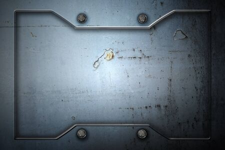 metal or concrete wall with metal frame for background and texture. 3d illustration.