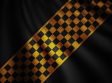 orange and black carbon fiber background. checkered pattern. 3d illustration material design. sport racing style. Фото со стока