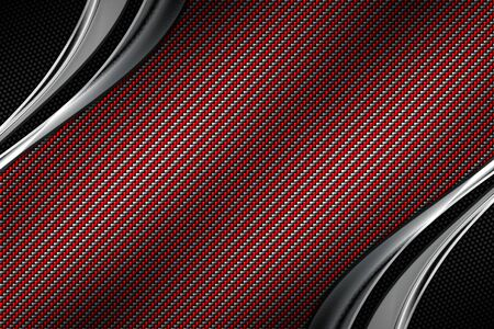 red and black carbon fiber and curve chromium frame. metal background and texture. material design. 3d illustration. Фото со стока