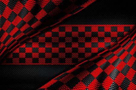 red and black carbon fiber background. checkered pattern. 3d illustration material design. sport racing style.