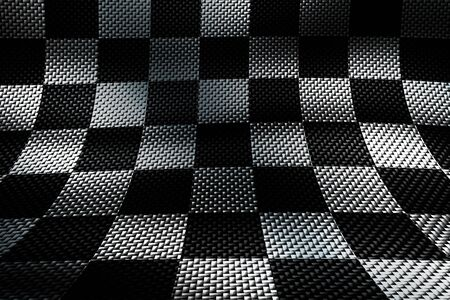 white and black carbon fiber background. checkered pattern. 3d illustration material design. sport racing style. Фото со стока