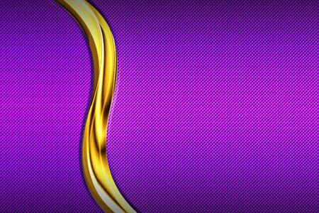 purple carbon fiber and gold curve chromium frame. metal background and texture. material design. 3d illustration. Фото со стока