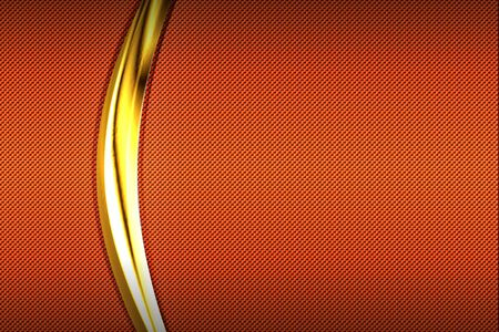 orange carbon fiber and gold curve chromium frame. metal background and texture. material design. 3d illustration.