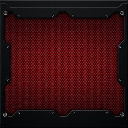 red metal plate and carbon fiber in dark gray metal frame. 3d illustration. technology concept. Zdjęcie Seryjne - 128301721
